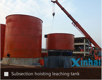 Subsection hoisting leaching tank