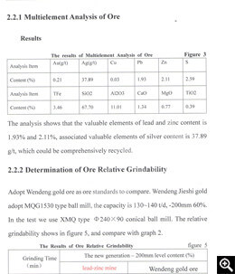 Results of crude ore multi-element analysis and relative grindability test