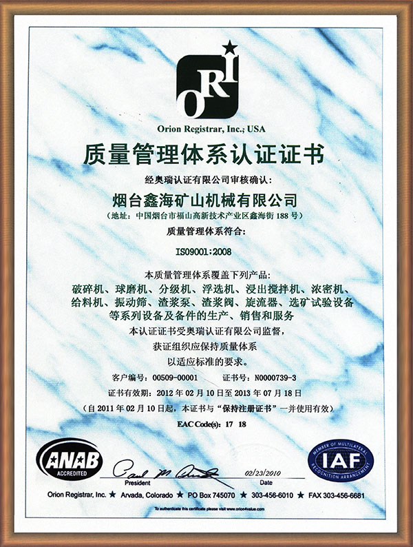 ISO9001quality management system certification